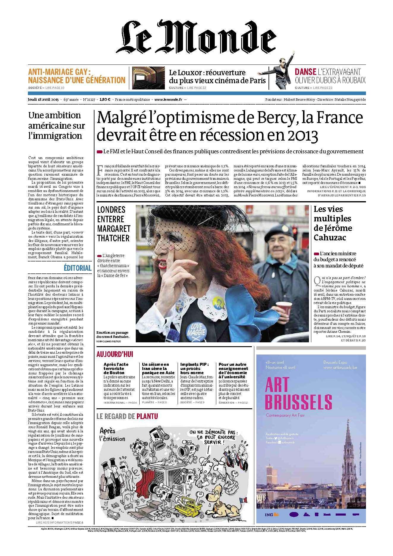 Le Monde du Jeudi 18 Avril 2013